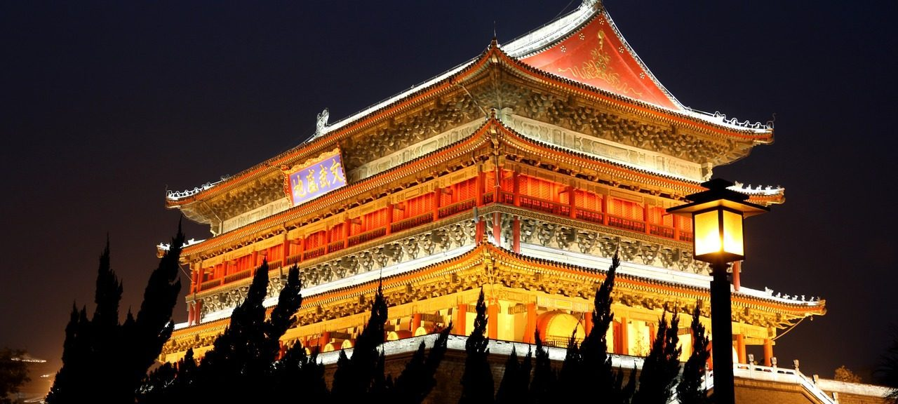 The Magnificient Drum Tower in Xian China at Night