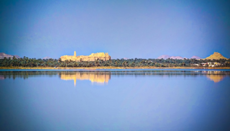 View of Zaytun lake, Siwa oasis, Egypt
