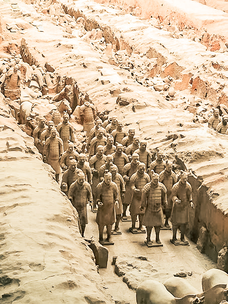 Massed Terracotta warriors in Pit number one at the Terracotta Army Museum in China