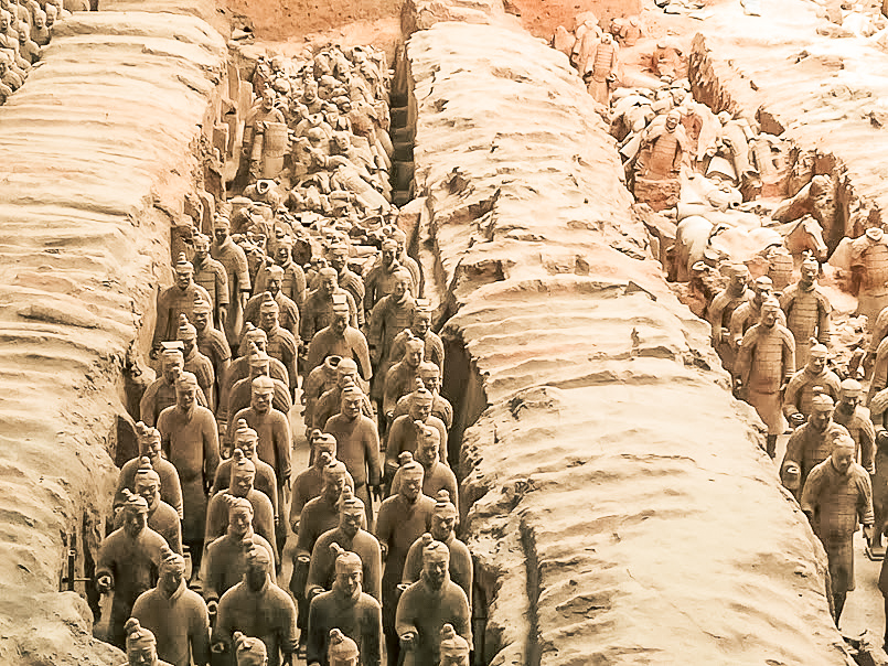 One of the incredible sights you'll see when visiting the Terracotta Warriors in Xian, China. Rows of terracotta figures buried in battle formation