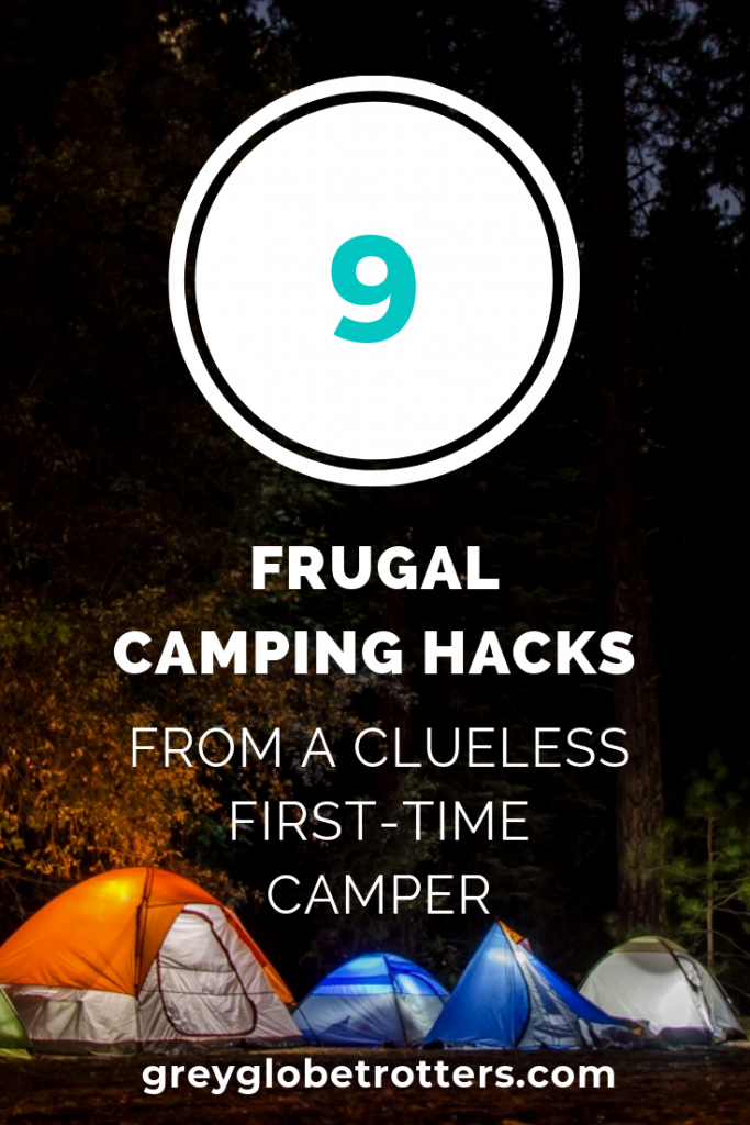 Image of tent pitched at nightime to illusttrate frugal camping hacks