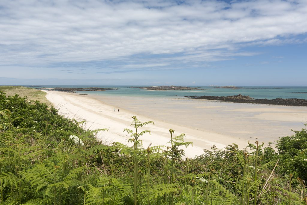 One of the stunning sandy beaches on Herm Island, looking out across turquoise seas