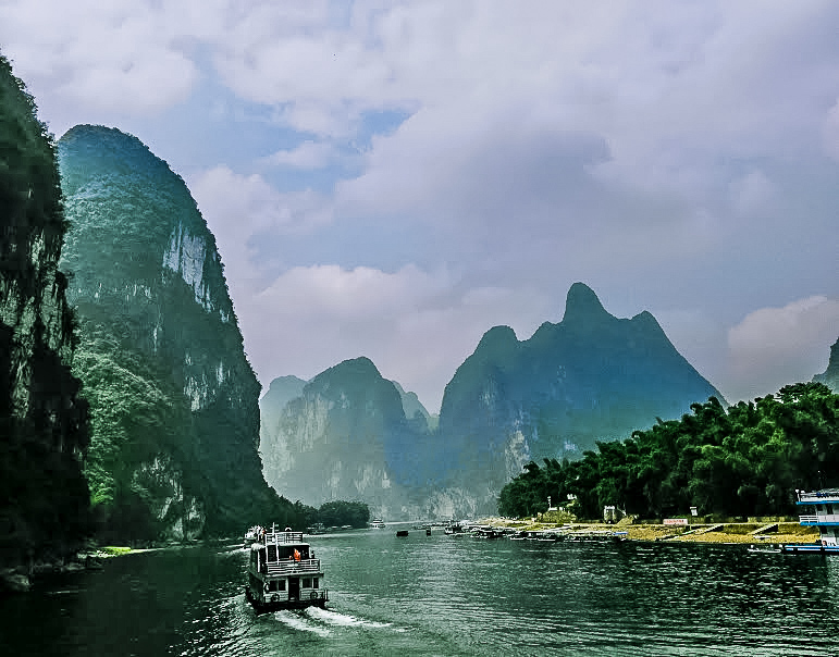 Spectacular Karst peaks seen from a river cruise in Guilin