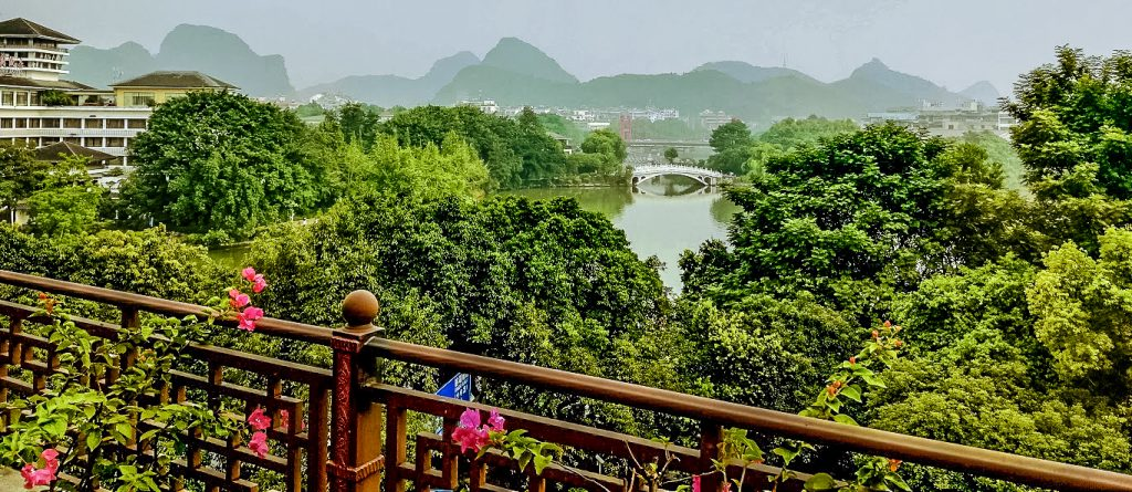 View from the Aroma Tea House Hotel over the lake at Guilin