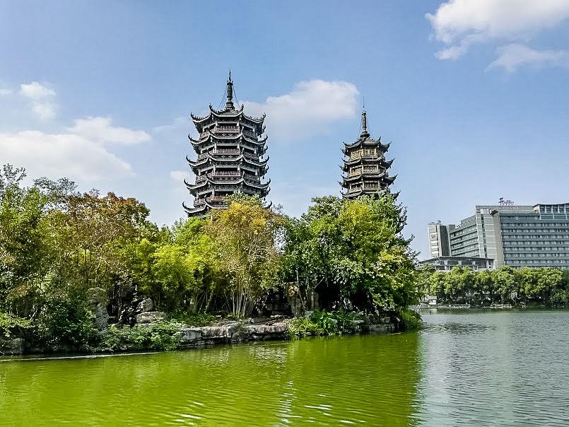Sun and Moon Water Towers, Shanhu Lake, Guilin