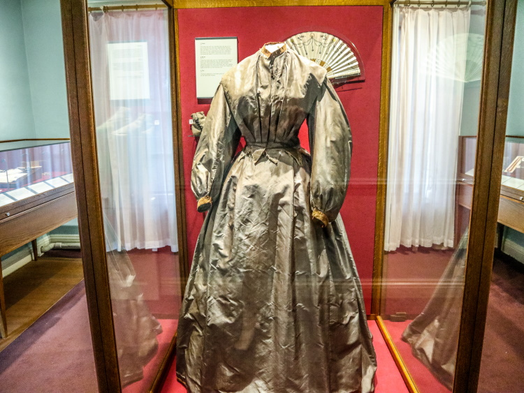 Charlotte Bronte's room, with a dress from her honeymoon trousseau | GreyGlobetrotters.com