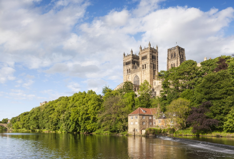 Durham Cathedral, on its rocky outcrop above the River Wear, in County Durham, England