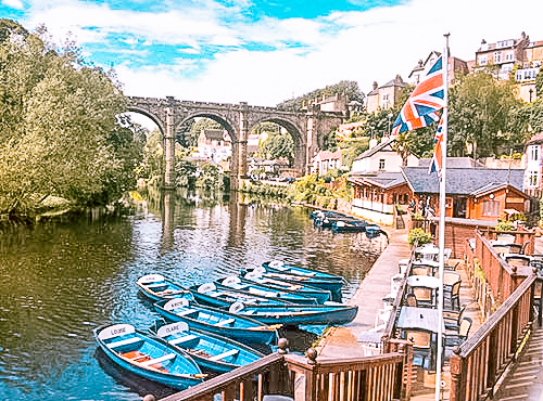 Rowing Boats on the River Nidd at Knaresborough, beneath the viaduct