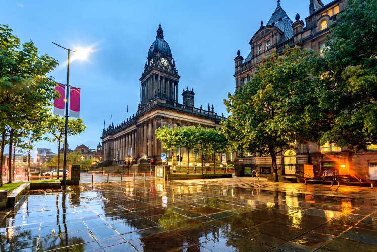 Leeds Town Hall on The Headrow, Leeds, West Yorkshire, England