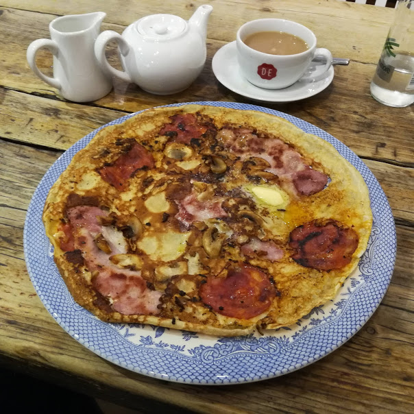 Dutch pancakes with butter and ham at the Shambles Food Court, York - perfect snackon a weekend in York