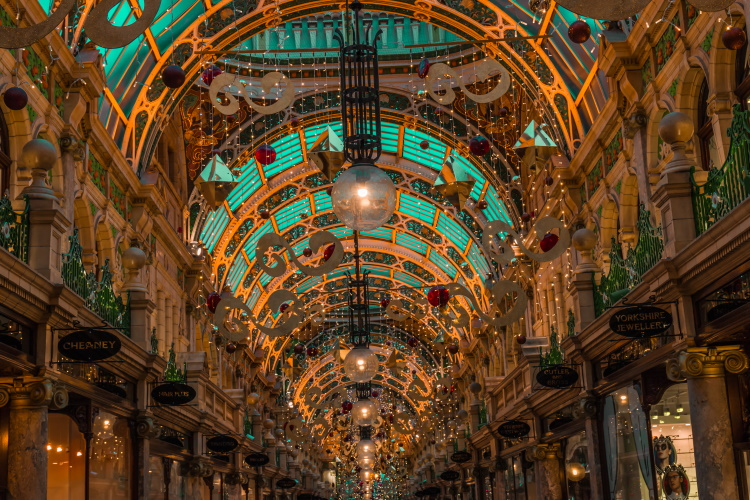 The shopping arcades in Leeds are beautiful