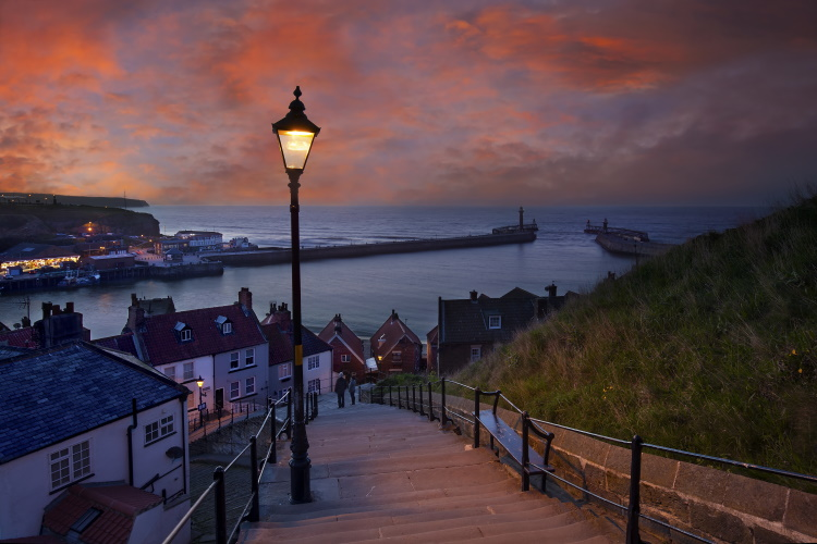 The beauty of Whitby at dusk. One of the most beautiful day trips from York