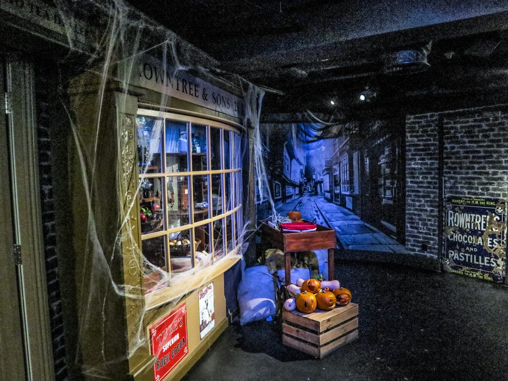 Scene from the York Chocolate story experience, with mock up of old York street and shop window