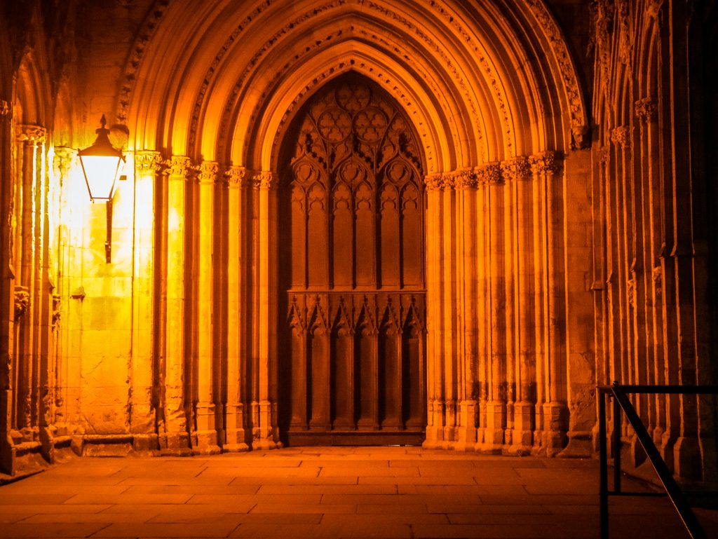 The spooky setting for the start of the York Ghost Trail - the massive West Door of York Minster