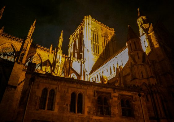 York Minster at night is a great place to see during a York ghost walk