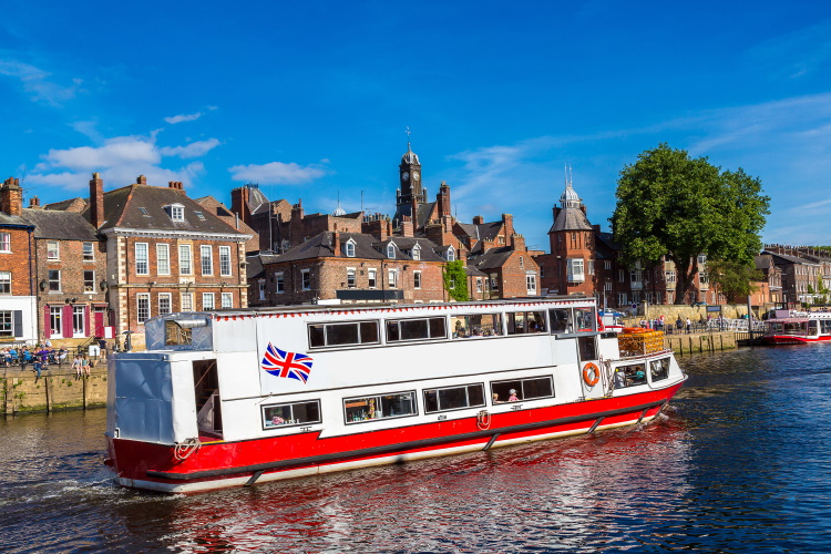 Cruise boat on the River Ouse in York, UK