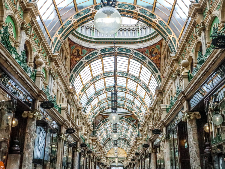 Victorian shopping arcade in Leeds, Yorkshire - County Arcades