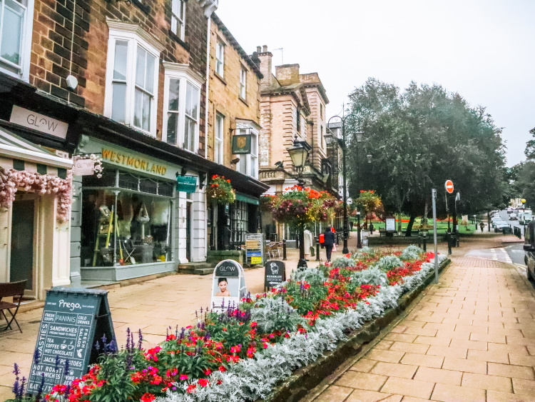 Montpellier Quarter Harrogate with elegant shops and beautiful flowers