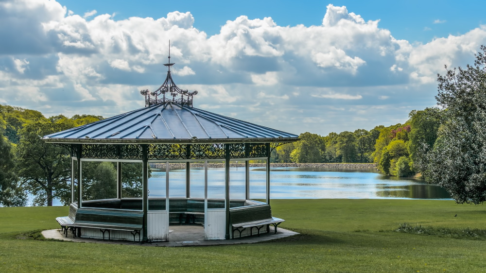 The Victorian bandstand at Roundhay Park, Leeds, overlooking Waterloo Lake.