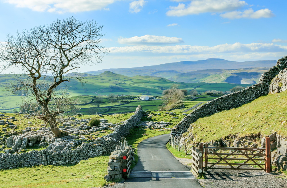 The beautiful scenery of the Yorkshire Dales, just outside Leeds, with drystone walls and rolling green hills
