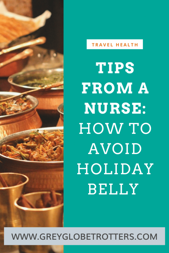 "Delicious Indian food in brass cooking pots, overlaid with text ""How o avoid holiday belly"""