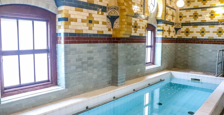 The Ornately Tiled Frigidarium at Harrogate Turkish Baths, Yorkshire, UK