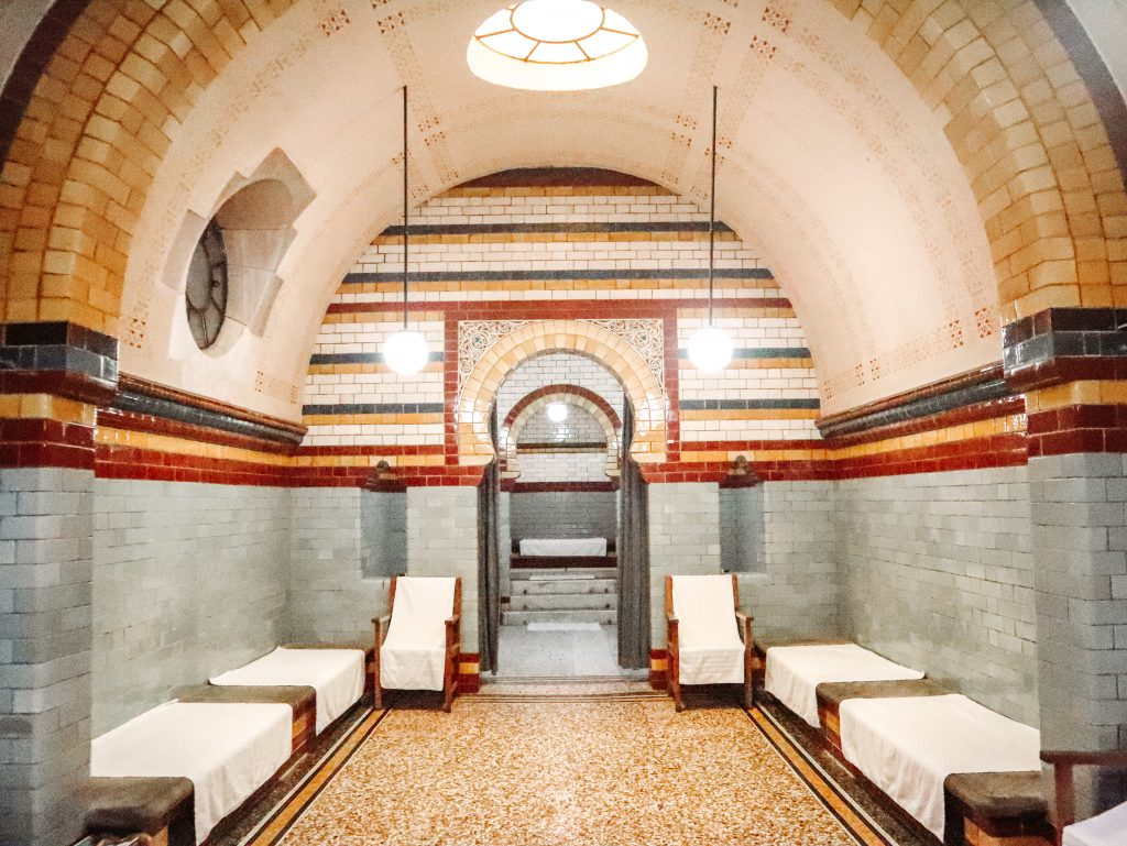 The hot rooms at the elegant Harrogate Turkish Baths in Yorkshire, England