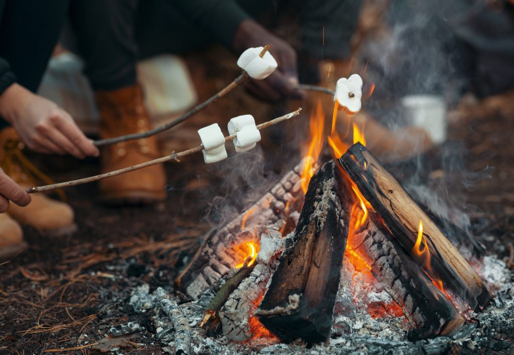 Toasting marshmallows over a campfire - one of the best frugal camping hacks - one that kids love!