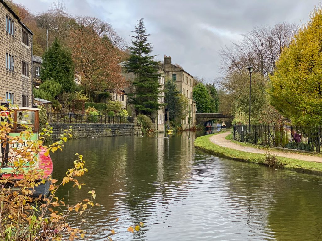 The pretty Canal at Hebden Bridge., with riverside buildings