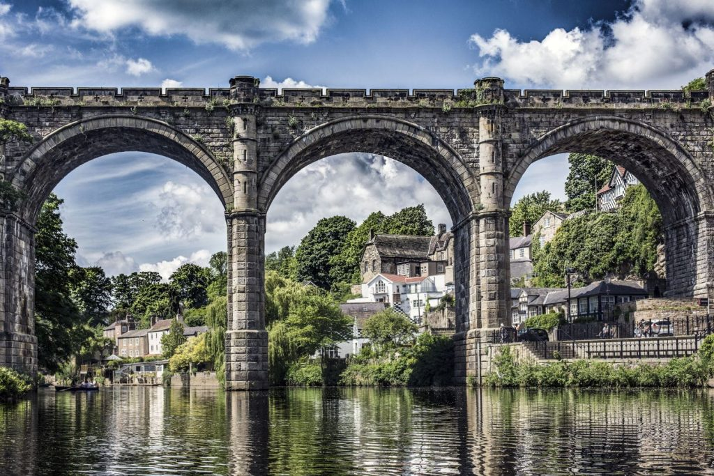 The soaring four span Victorian viaduct in Knaresborough, high above the River Nidd