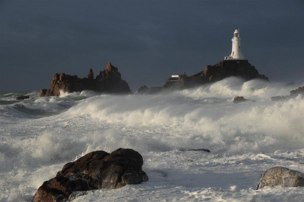 La Corbiere Lighthouse in storm min