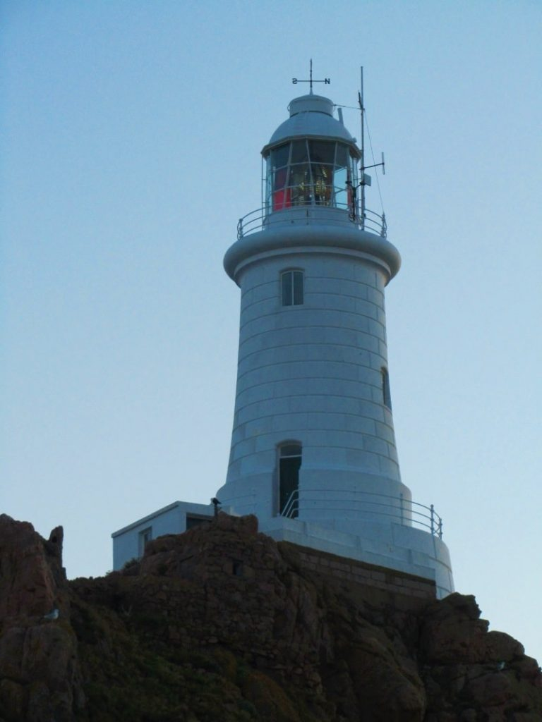 The view of the lighthouse from close up, right at the end of the causeway