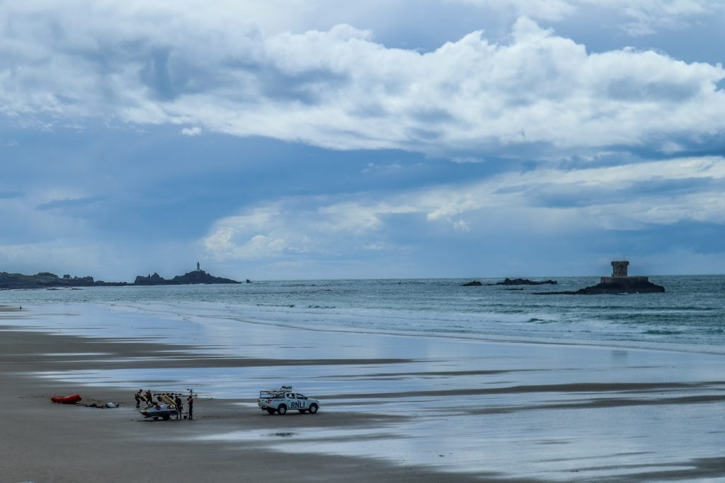 Wild and beautiful St Ouen's Bay in Jersey - a haven for surfers as the breakers roll in here from the Atlantic