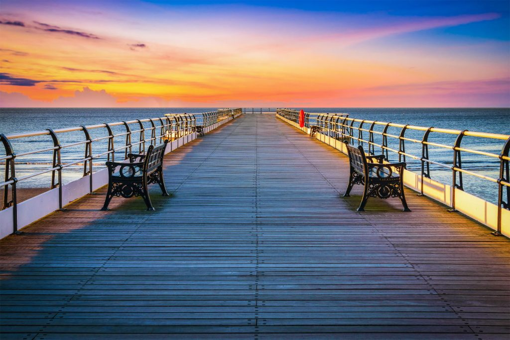 Sunset pier at Saltburn by the Sea, North Yorkshire, UK