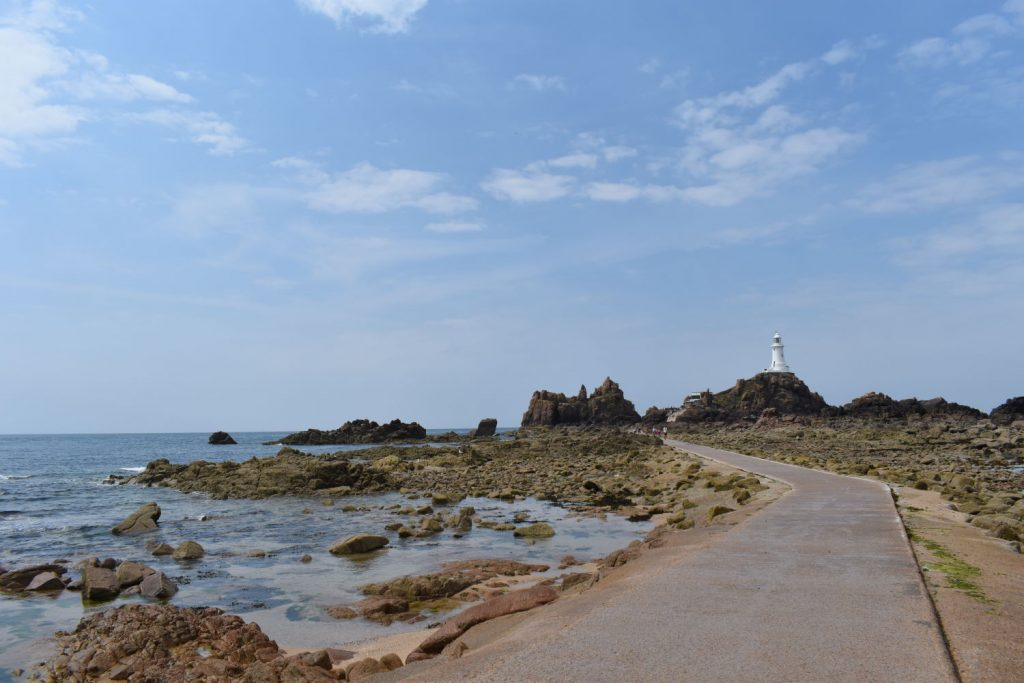 The concrete causeway out to La Corbiere Lighthouse, at low tide