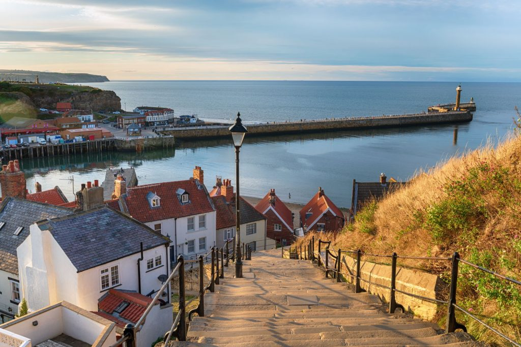 The 199 Steps at Whitby on the North Yorkshire coastline.