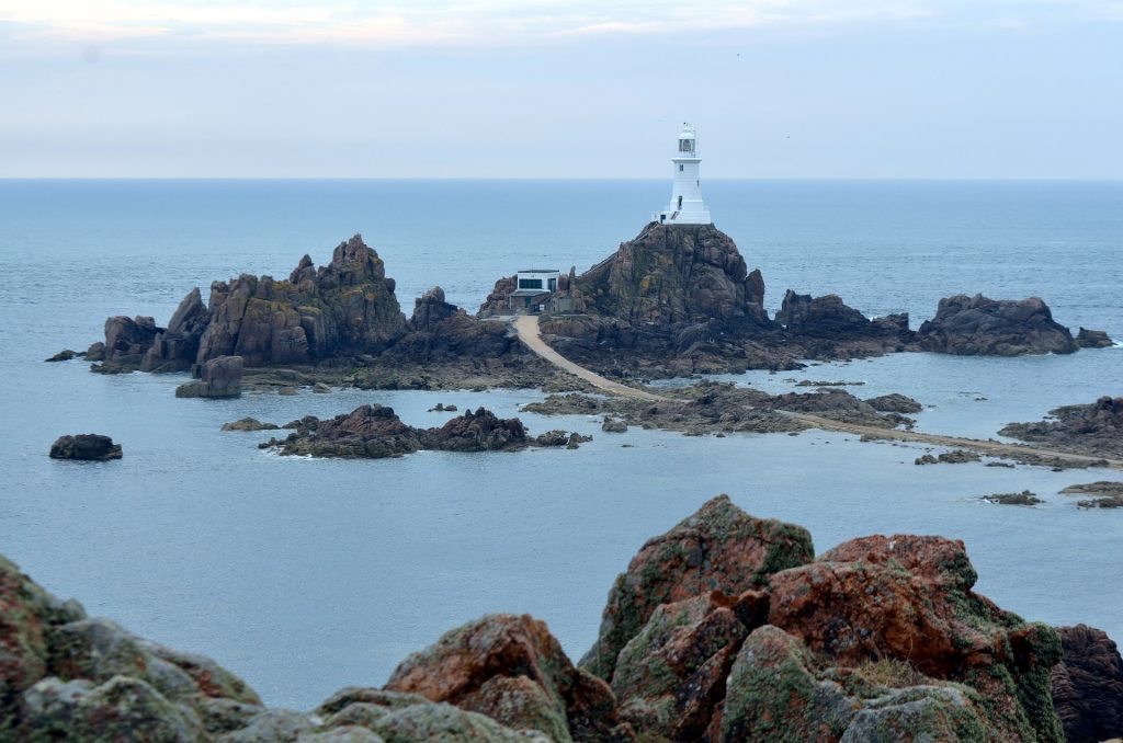 "The iconic lighthouse of La Corbiere, known to locals simply as ""Corbiere"""