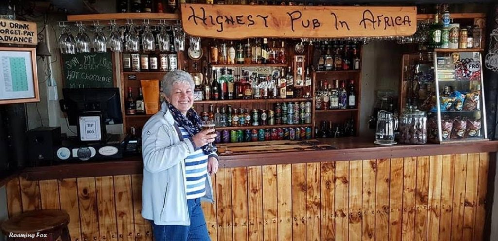 Alma at the Sani pub - the highest pub in Africa