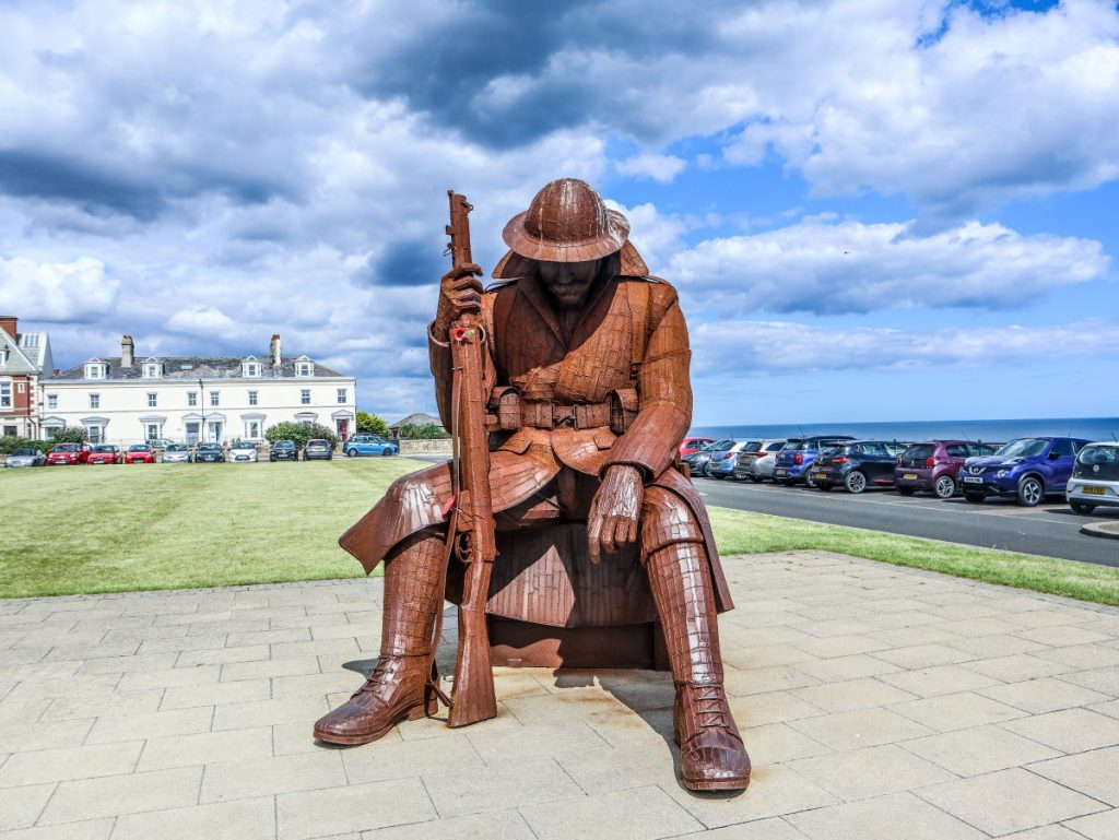 "The huge 9ft 5 steel sculpture of ""Tommy"" at Seaham, on the Durham Heritage Coast"