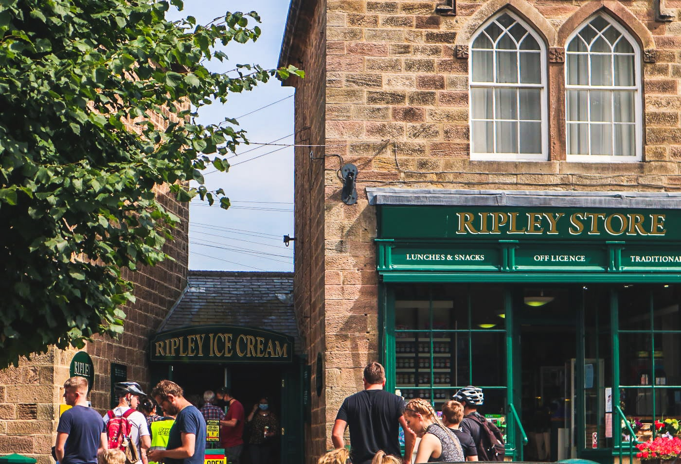 Quaint shops in Ripley, North Yorkshire, including Ripley Ice Cream