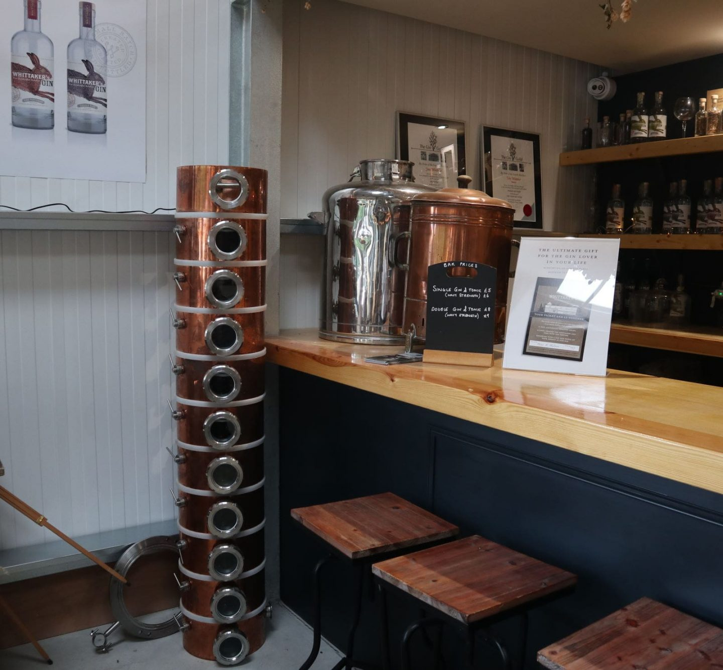 Whittaker's gin distillery shop at