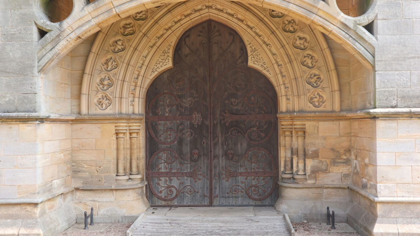 Door to St Mary's church, Studley Royal