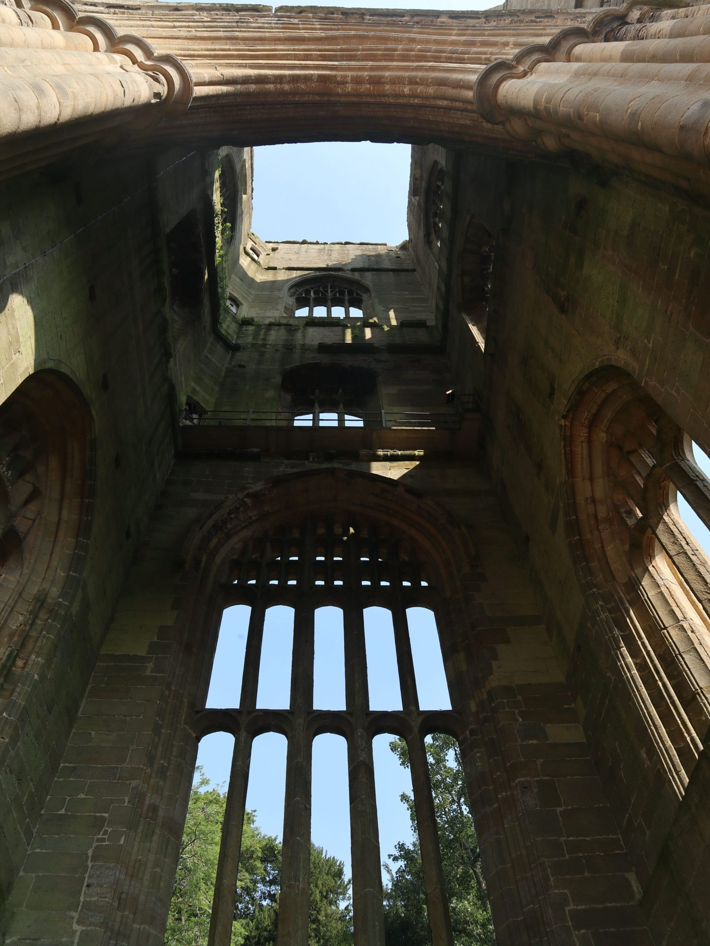 View inside Hubys tower Fountains Abbey Yorkshire min