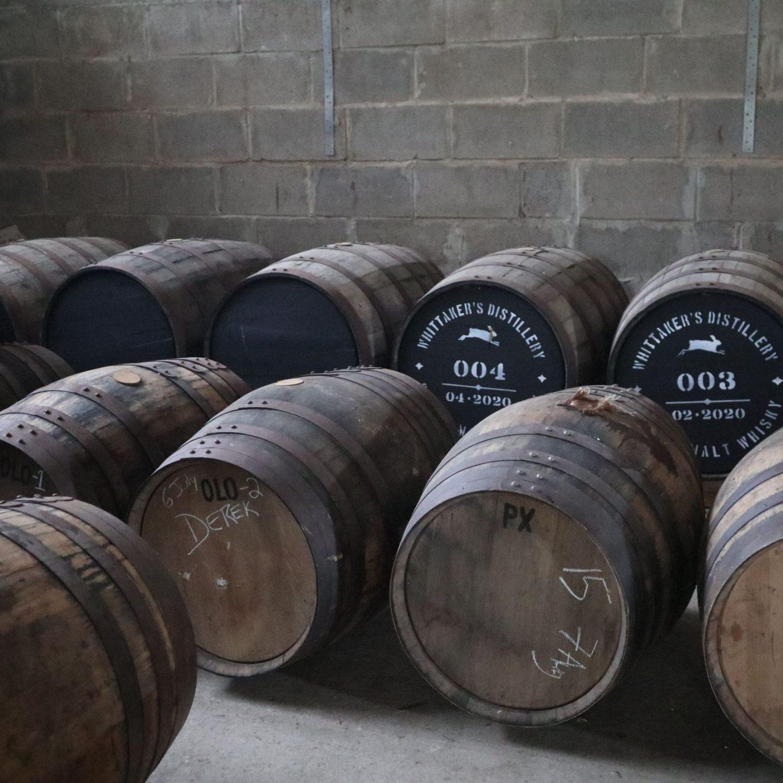 Whiskey barrels laid down at the Harrogate Distillery min