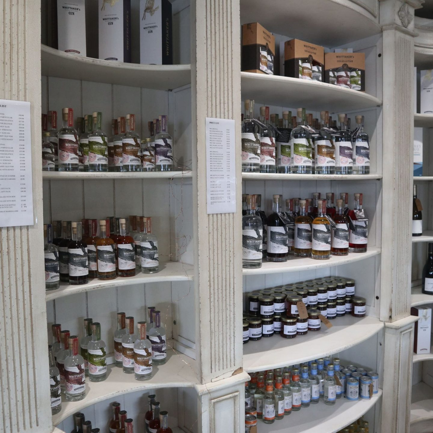 Inside the lovely gin shop at Whittaker's distillery