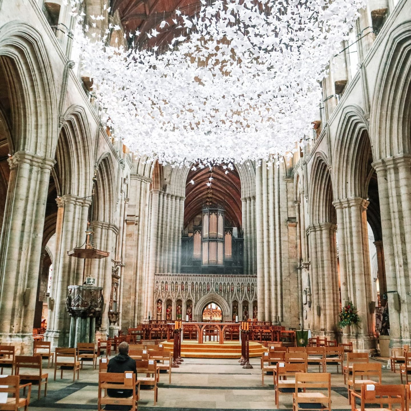 The wing and a prayer exhibitions of paper angels at Ripon cathedral