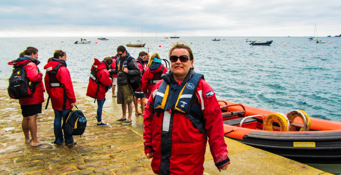 Kitted out for Dolphin, Seal and Reef Exploration RIB Trip to Les Ecrehous