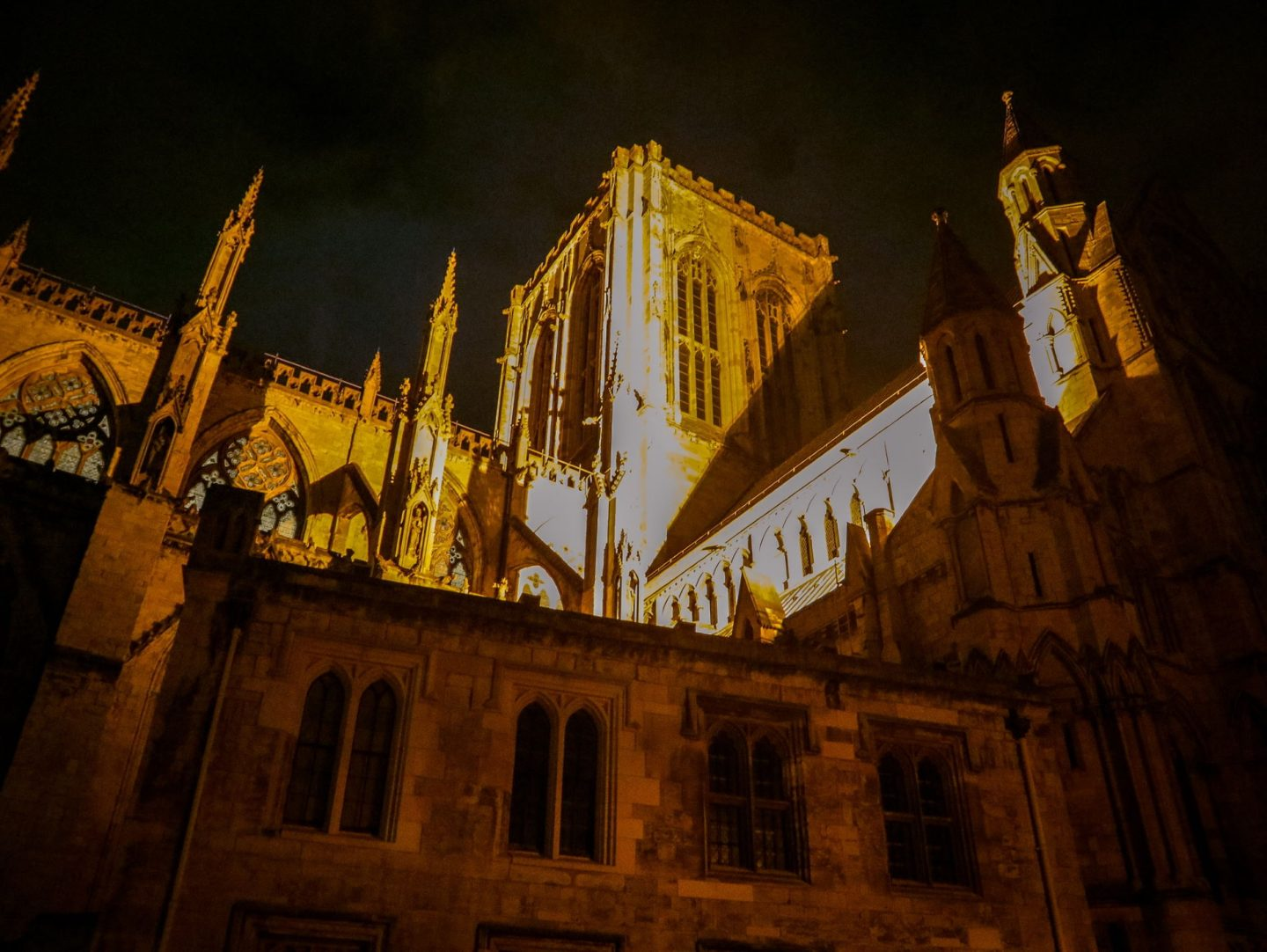 York Minster casts a spooky shadow over the city of York at night