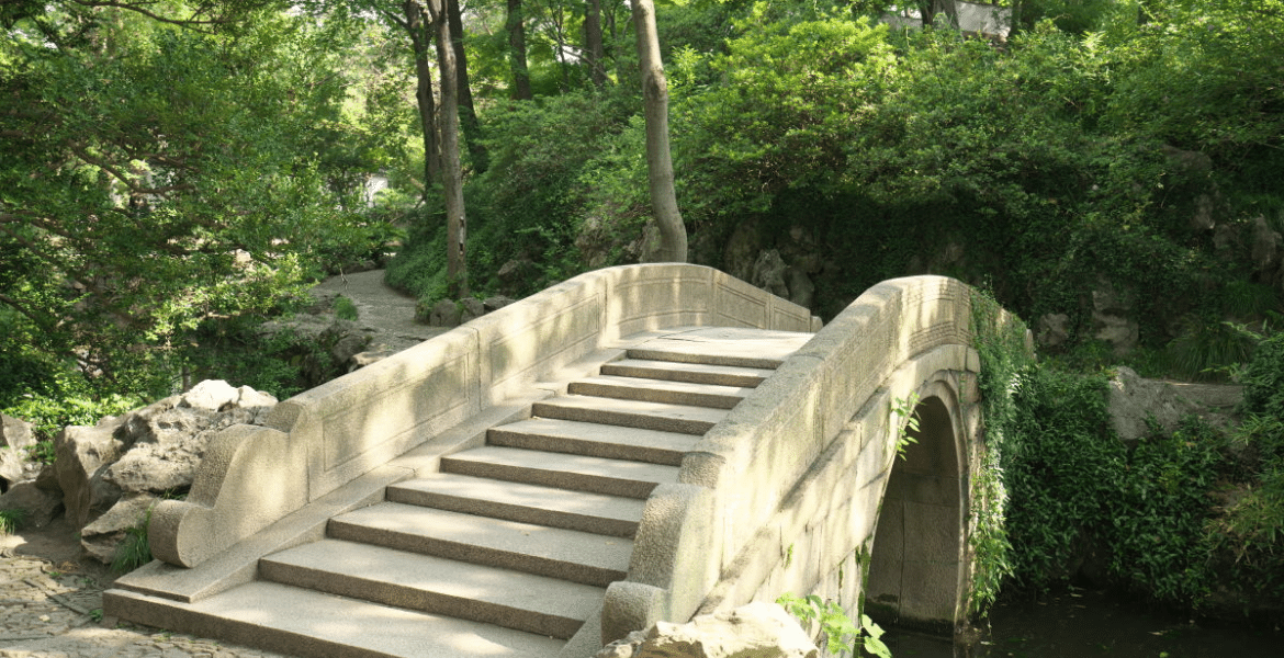 Pretty bridge over water at the Humble Administrators Garden Suzhou