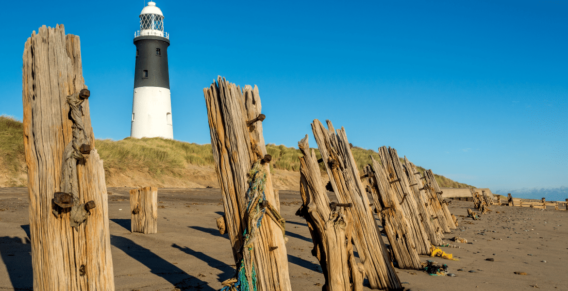 Weathered wooden groynes on the beach at Spurn Head